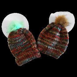 Bonnet en laine Arlequin rouge